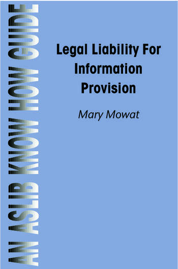 Legal Liability for Information Provision book cover