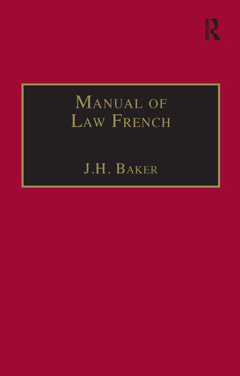 Manual of Law French book cover