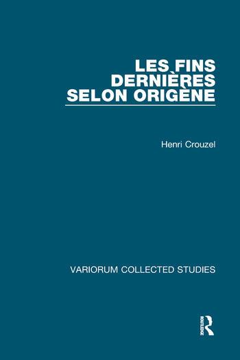 Les fins dernières selon Origène book cover