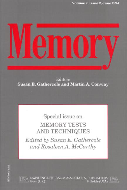Memory Tests and Techniques A Special Issue of Memory book cover