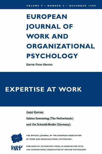 Expertise At Work A Special Issue of the European Journal of Work and Organizational Psychology book cover