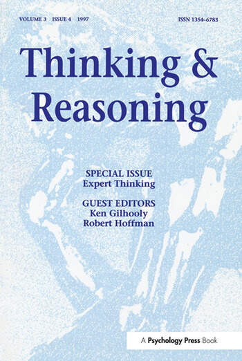 Expert Thinking A Special Issue of Thinking and Reasoning book cover