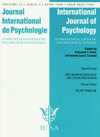 Neuropsychology of Consciousness A Special Issue of the International Journal of Psychology book cover