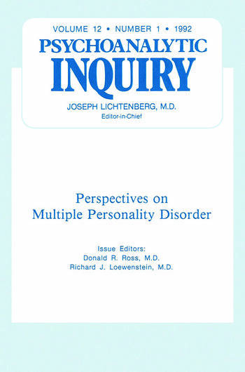 Multiple Personality Disorder Psychoanalytic Inquiry, 12.1 book cover