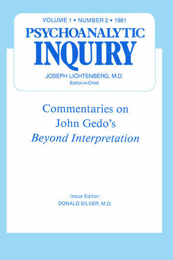 Commentaries Psychoanalytic Inquiry, 1.2 book cover