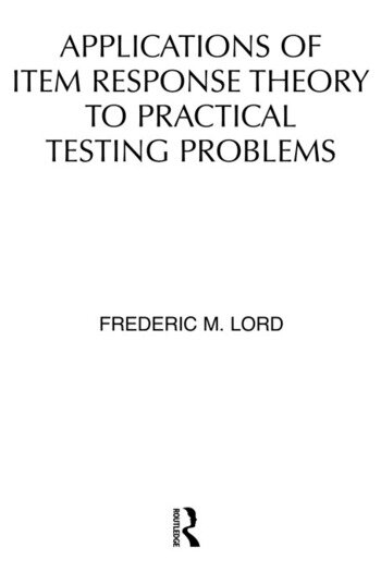 Applications of Item Response Theory To Practical Testing Problems book cover