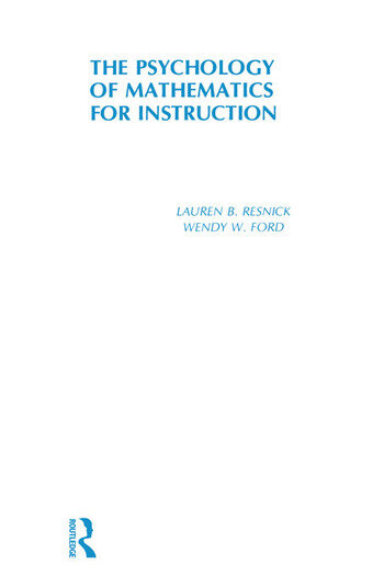 Psychology of Mathematics for Instruction book cover