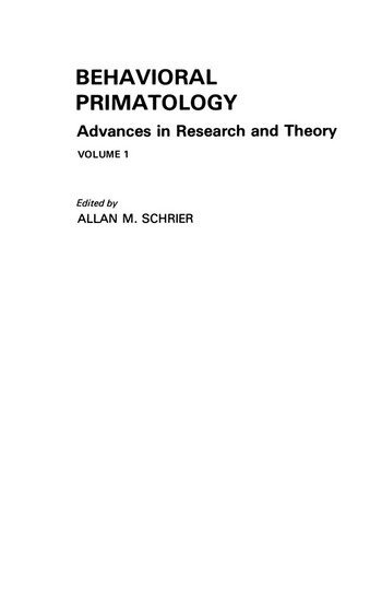 Behavioral Primatology Advances in Research and Theory, Volume 1 book cover