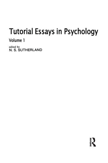 Tutorial Essays in Psychology Volume 1 book cover