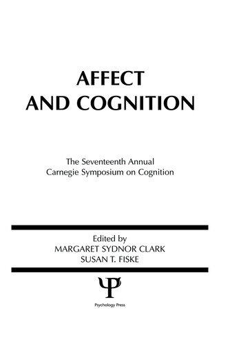 Affect and Cognition 17th Annual Carnegie Mellon Symposium on Cognition book cover