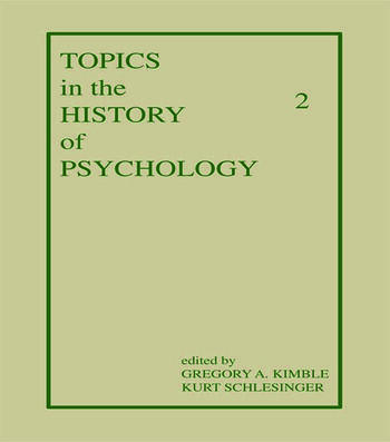 Topics in the History of Psychology Volume II book cover