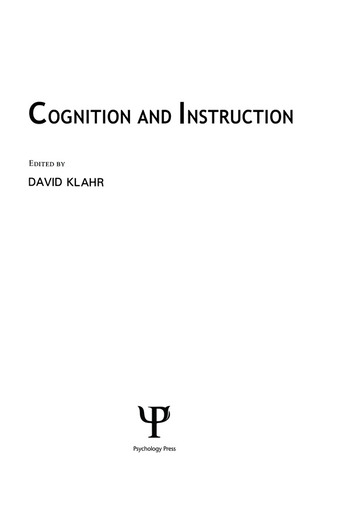 Cognition and Instruction book cover