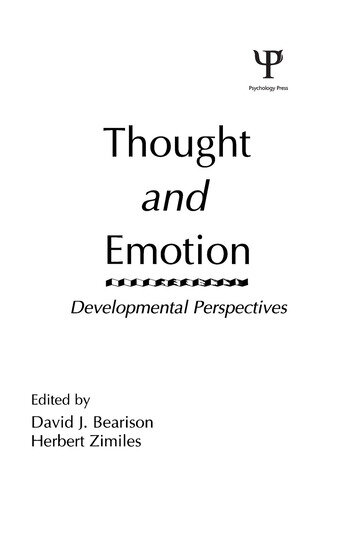 Thought and Emotion Developmental Perspectives book cover