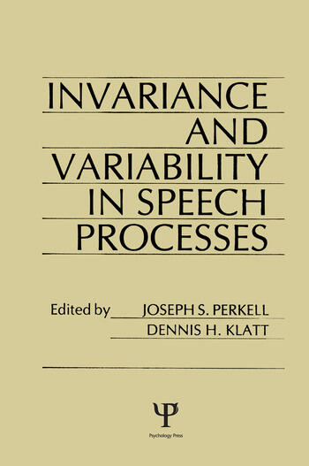invariance and Variability in Speech Processes book cover