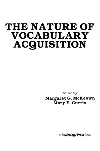 The Nature of Vocabulary Acquisition book cover