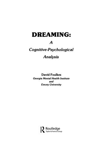 Dreaming A Cognitive-psychological Analysis book cover
