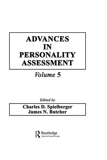 Advances in Personality Assessment Volume 5 book cover