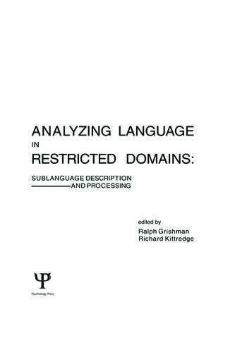 Analyzing Language in Restricted Domains Sublanguage Description and Processing book cover