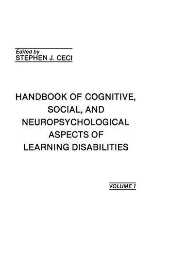 Handbook of Cognitive, Social, and Neuropsychological Aspects of Learning Disabilities Volume I book cover