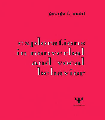Explorations in Nonverbal and Vocal Behavior book cover