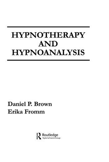 Hypnotherapy and Hypnoanalysis book cover