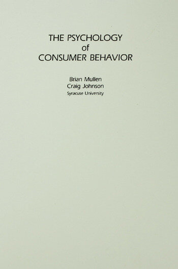 The Psychology of Consumer Behavior book cover