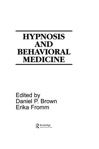 Hypnosis and Behavioral Medicine book cover