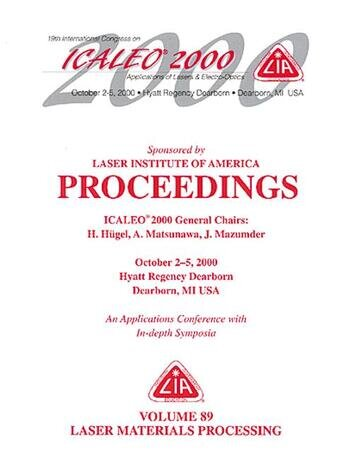 Laser Materials Processing , ICALEO 2000 Proceedings, Volume 89 book cover