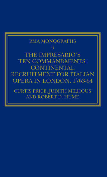 The Impresario's Ten Commandments Continental Recruitment for Italian Opera in London 1763-64 book cover