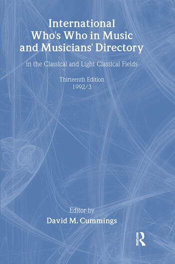 Intl Whos Who Music&Ency Ed13 book cover