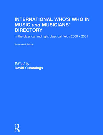 International Who's Who in Music book cover