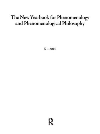 The New Yearbook for Phenomenology and Phenomenological Philosophy Volume 10 book cover