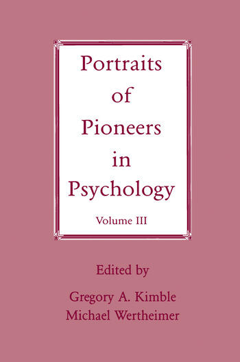 Portraits of Pioneers in Psychology Volume III book cover