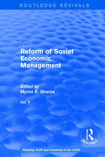 Reform of Soviet Economic Management book cover