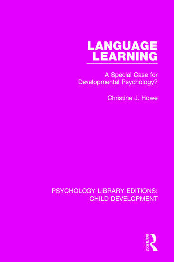 Language Learning A Special Case for Developmental Psychology? book cover