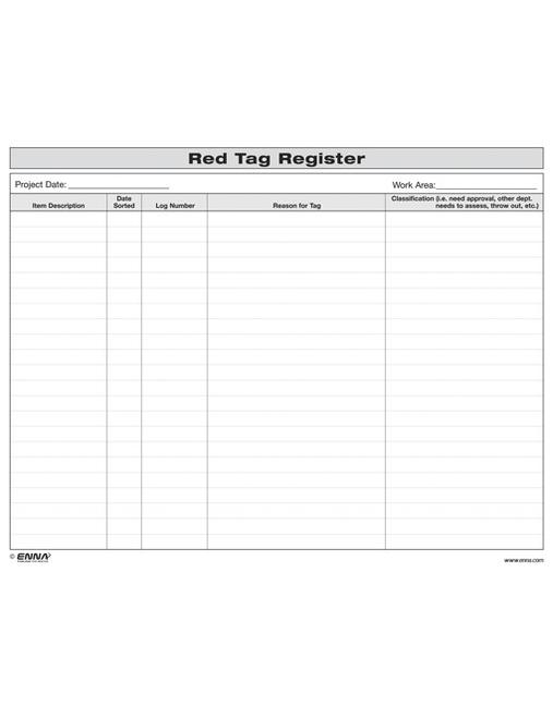 5S Red Tag Register Form book cover