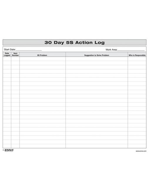 5S: 30 Day Action Log book cover