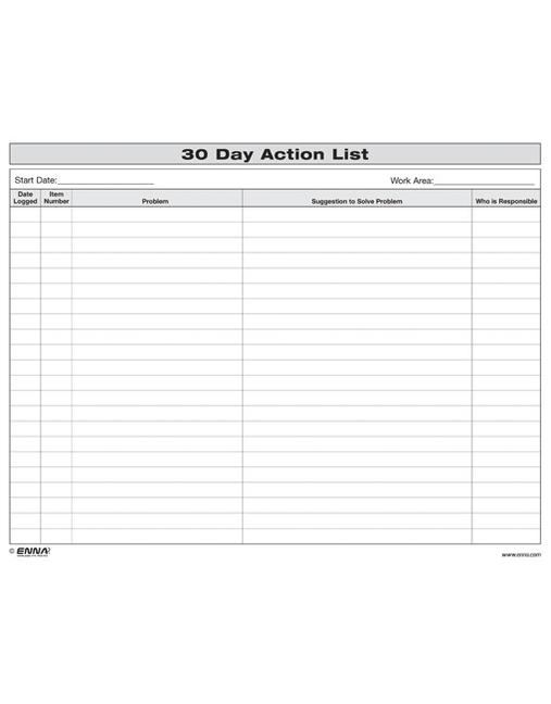 30 Day Action List book cover