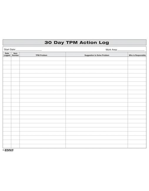 30 Day TPM Action Log book cover