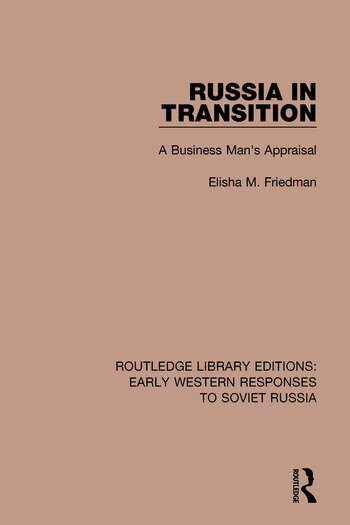 Russia in Transition A Business Man's Appraisal book cover