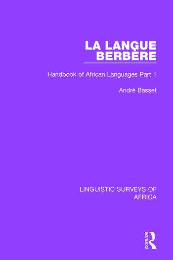 La Langue Berbère Handbook of African Languages Part 1 book cover