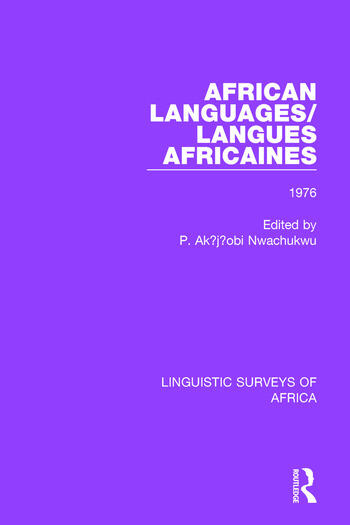 African Languages/Langues Africaines Volume 2 1976 book cover