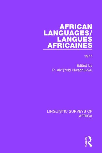 African Languages/Langues Africaines Volume 3 1977 book cover