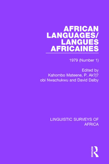 African Languages/Langues Africaines Volume 5 (1) 1979 book cover