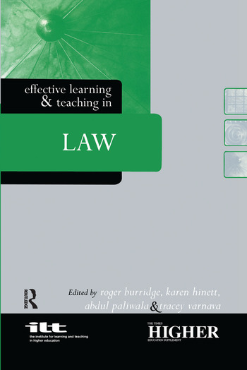 Effective Learning and Teaching in Law book cover