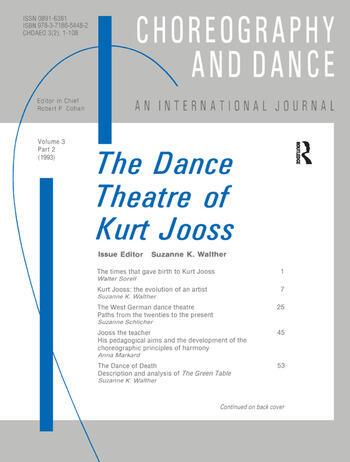 The Dance Theatre of Kurt Jooss book cover
