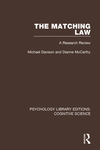 The Matching Law A Research Review book cover