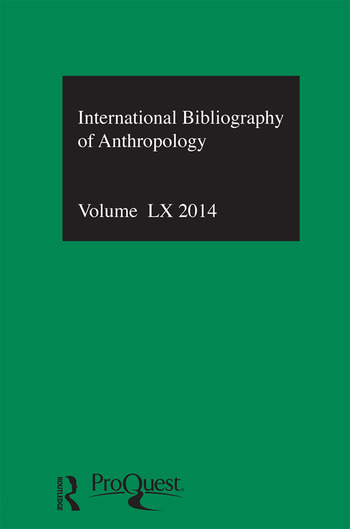 IBSS: Anthropology: 2014 Vol.60 International Bibliography of the Social Sciences book cover