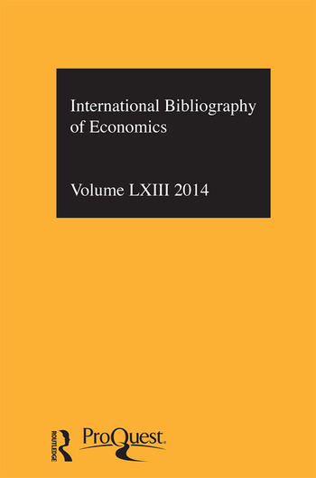 IBSS: Economics: 2014 Vol.63 International Bibliography of the Social Sciences book cover