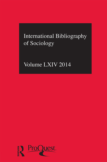 IBSS: Sociology: 2014 Vol.64 International Bibliography of the Social Sciences book cover
